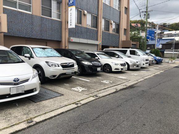 淡路島岩屋漁協の契約駐車場
